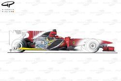 Ferrari F10 side view, angled engine