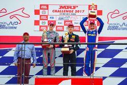 Podium race 1: winner Felipe Drugovich, second place Alex Karkosik, third place Rinus Van Kalmthout