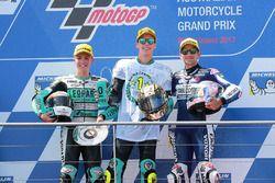 Le vainqueur Joan Mir, Leopard Racing, le deuxième Livio Loi, Leopard Racing, le troisième Jorge Martin, Del Conca Gresini Racing Moto3