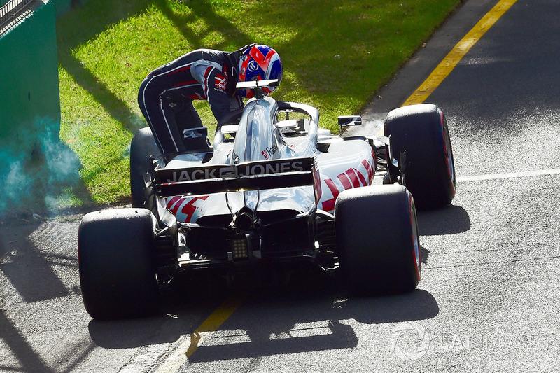 Romain Grosjean, Haas F1 Team VF-18 berhenti di trek
