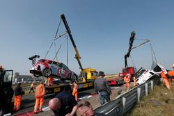 The car of Norbert Michelisz, BRC Racing Team Hyundai i30 N TCR and Yvan Muller, YMR Hyundai i30 N TCR after the crash