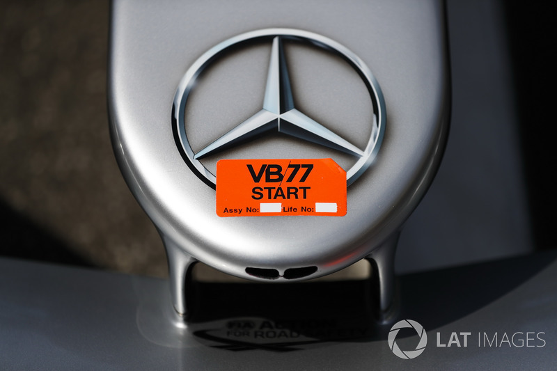 A Mercedes logo on the Valtteri Bottas Mercedes AMG F1 W09