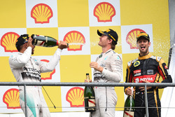 Podium: race winner Lewis Hamilton, Mercedes AMG F1, second place Nico Rosberg, Mercedes AMG F1 and third place Romain Grosjean, Lotus F1 Team