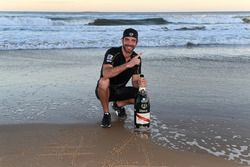 Jean-Eric Vergne, Techeetah, celebrates on the beach