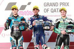 Podium: segundo, Aron Canet, Estrella Galicia 0,0, ganador, Jorge Martin, Del Conca Gresini Racing M
