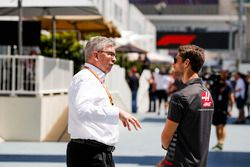 Ross Brawn, Managing Director of Motorsports, FOM, with Romain Grosjean, Haas F1 Team