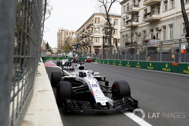 Lance Stroll, Williams FW41 Mercedes, Charles Leclerc, Sauber C37 Ferrari