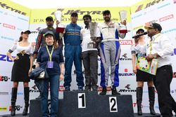 Formula LGB Podium: Race winner Rohit Khanna, Dark Don; second place Chittesh Mandody, Avalance Racing; third place Vishnu Prasad, MSport