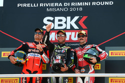 Race winner Jonathan Rea, Kawasaki Racing, second place Chaz Davies, Aruba.it Racing-Ducati SBK Team, third place Eugene Laverty, Milwaukee Aprilia