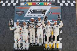#912 Porsche Team North America Porsche 911 RSR, GTLM: Laurens Vanthoor, Earl Bamber, podium, #25 BMW Team RLL BMW M8, GTLM: Alexander Sims, Connor de Phillippi, #3 Corvette Racing Chevrolet Corvette C7.R, GTLM: Antonio Garcia, Jan Magnussen