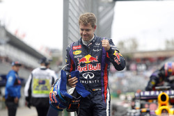 Sebastian Vettel, Red Bull Racing, fête sa pole