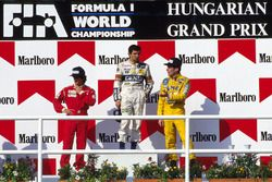 Podium: race winner Nelson Piquet,Williams, second place Alain Prost, McLaren and third place Ayrton