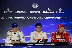 Second place Valtteri Bottas, Mercedes AMG F1, winner Max Verstappen, Red Bull Racing, third place K
