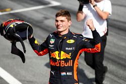 Max Verstappen, Red Bull Racing, 1st position, celebrates victory after the race