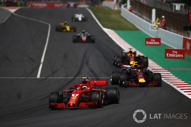 Kimi Raikkonen, Ferrari SF71H, Max Verstappen, Red Bull Racing RB14, Daniel Ricciardo, Red Bull Racing RB14, Kevin Magnussen, Haas F1 Team VF-18