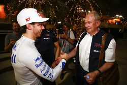 Pierre Gasly, Toro Rosso, is congratulated on a good result by Helmut Markko, Consultant, Red Bull R