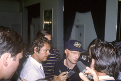 Niki Lauda, McLaren MP4/1B, is interviewed about the proposed drivers strike
