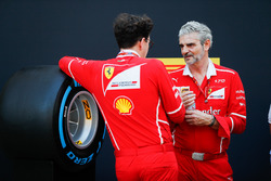 Maurizio Arrivabene, Team Principal, Ferrari talks to an engineer