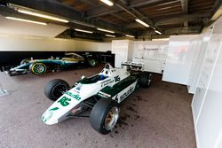The 1982 Williams FW08 Ford Cosworth of Keke Rosberg and 2016 Mercedes W07 of Nico Rosberg
