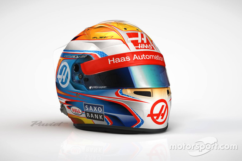 Le casque de Romain Grosjean, Haas F1 Team