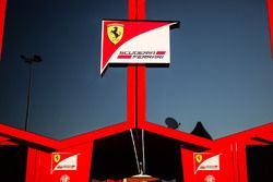 Ferrari logo on a truck in the paddock
