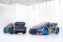 The cars of Andreas Bakkerud, Ken Block, Hoonigan Racing Division, Ford Focus