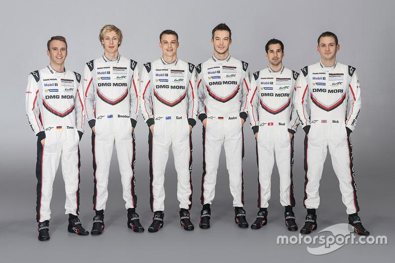 Тимо Бернхард, Брендон Хартли, Эрл Бамбер, Андре Лоттерер, Нил Джани и Ник Тэнди, Porsche Team