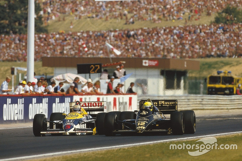 Ayrton Senna, Lotus 98T Renault ve Nigel Mansell, Williams FW11 Honda