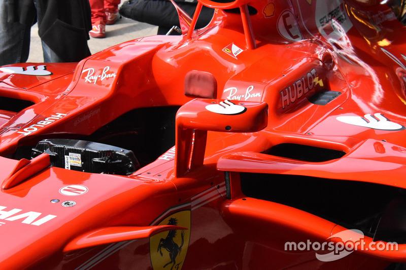 Mirror at the Ferrari SF70H of Sebastian Vettel