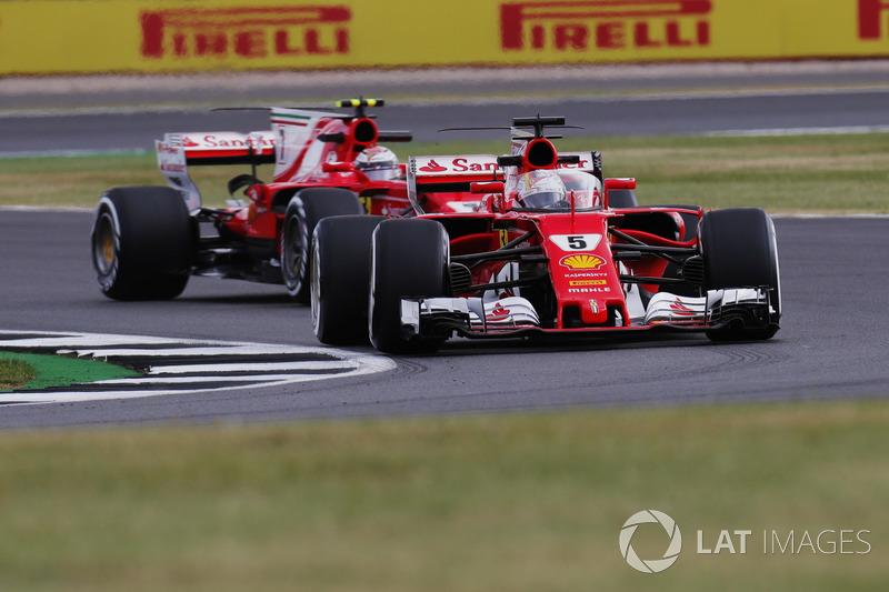 Sebastian Vettel, Ferrari SF70H, cockpit shield head of Kimi Raikkonen, Ferrari SF70H