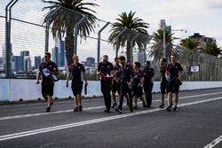 Romain Grosjean, Haas F1 Team Haas walks the track with team members