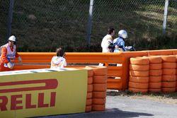 Fernando Alonso, McLaren MCL32 stops on track in FP1