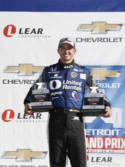 Podium: race winner Graham Rahal, Rahal Letterman Lanigan Racing Honda with the trophies from both of his wins