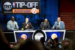 Basketball legend Shaquille O'Neal with sportscaster Ernie Johnson Jr, and former players and analys