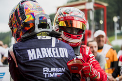 Race winner Charles Leclerc, PREMA Powerteam, second place Artem Markelov, RUSSIAN TIME