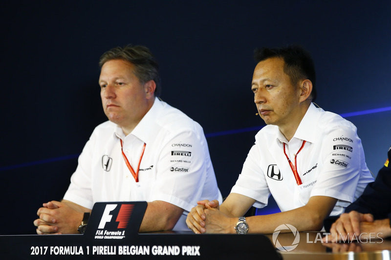 Zak Brown, Executive Director, McLaren Technology Group, Yusuke Hasegawa, Senior Managing Officer, Honda, in the FIA Press Conference
