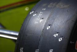 Simon Pagenaud, Team Penske Chevrolet, detalle de la llanta