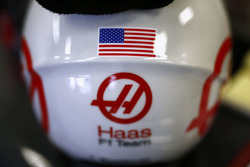 Haas F1 Team Logo and US flag on a Haas F1 Team team pit helmet