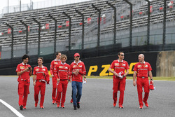 Sebastian Vettel, Ferrari and Antonio Giovinazzi, Ferrari walk the track with Riccardo Adami, Ferra