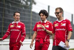 Sebastian Vettel, Ferrari and Antonio Giovinazzi, Ferrari walk the track