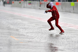 Wet and flooded pit lane
