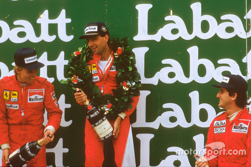 Michele Alboreto, 1st position, Stefan Johansson, 2nd position and Alain Prost, 3rd position on the