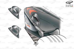 Développements de l'évacuation d'air des radiateurs de la McLaren MP4-16