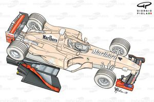 Ferrari F399 3/4 view front and rear wings and floor displaced