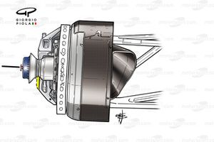 Brembo brake caliper mounted behind brake disc