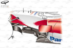 Toyota TF106 vertical floor strakes ahead of the sidepod