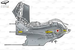 Ferrari F2012 gearbox and suspension pickup points highlighted in yellow, rear wishbone leg bodies the driveshaft indicated by yellow dotted lines
