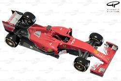 Vue de 3/4 de la Ferrari F14 T
