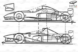 Ferrari F310 (648) 1996 comparison to 412T2 (below)