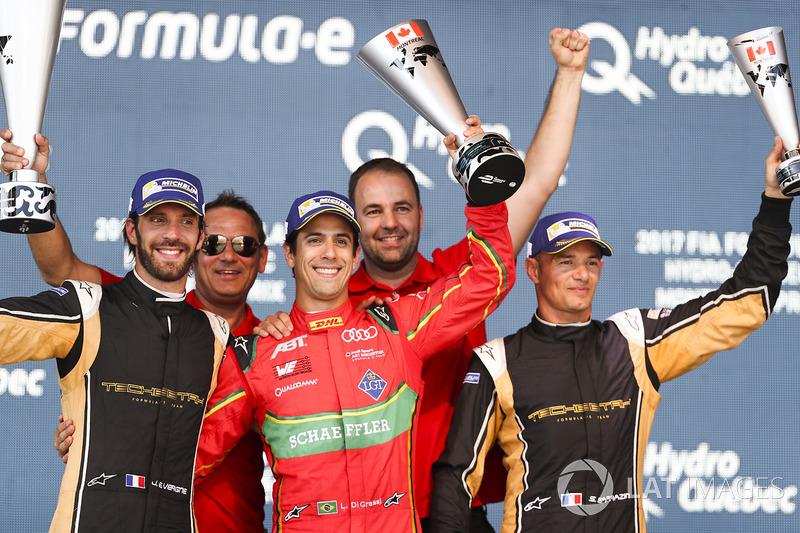 Jean-Eric Vergne, Techeetah, Lucas di Grassi, ABT Schaeffler Audi Sport, y Stéphane Sarrazin, Techee